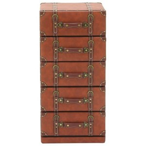 UMA Enterprises, Inc. Accent Furniture Faux Leather 5 Drawer Chest