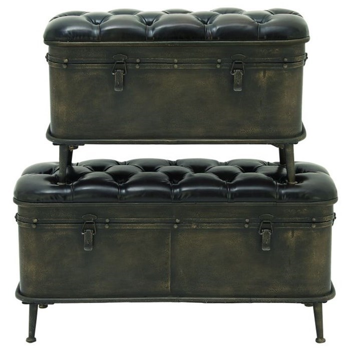 Metal/Faux Leather Storage Benches, Set of 2