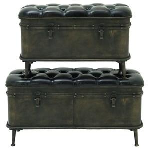 UMA Enterprises, Inc. Accent Furniture Metal/Faux Leather Storage Benches, Set of 2