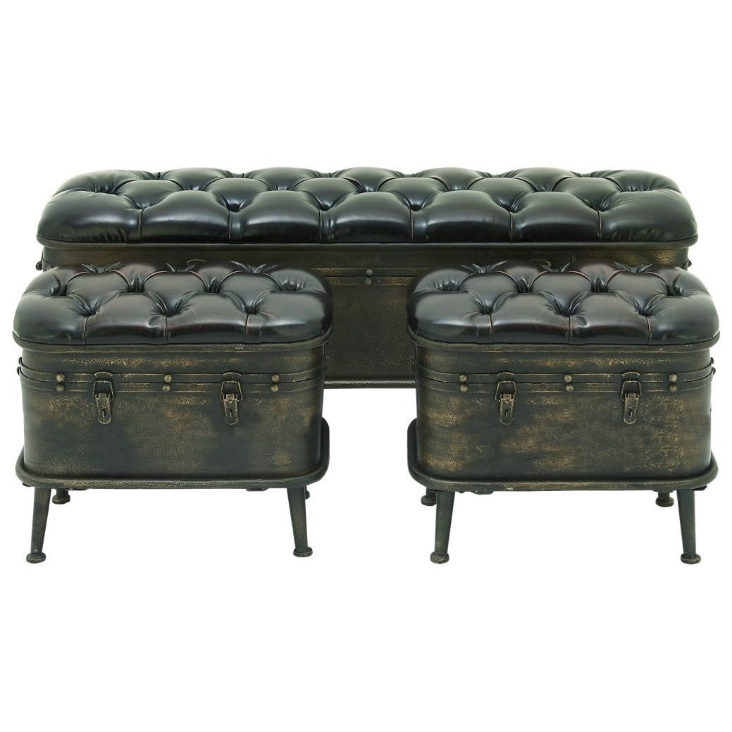 Accent Furniture Metal Storage Benches, Set of 3 by UMA Enterprises, Inc. at Wilcox Furniture