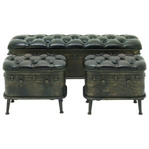 UMA Enterprises, Inc. Accent Furniture Metal Storage Benches, Set of 3