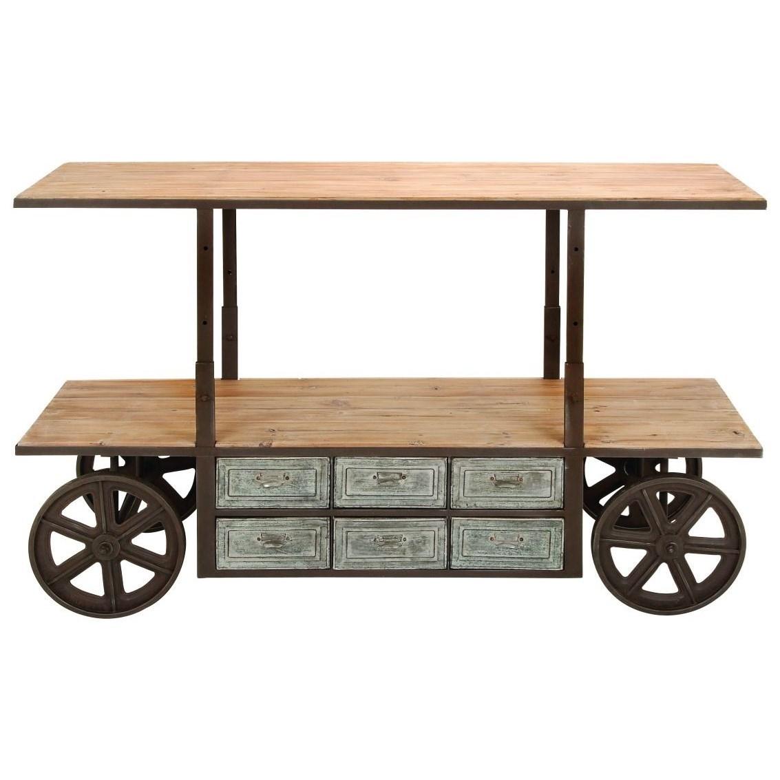 Accent Furniture Metal/Wood Adjustable Media Cart by UMA Enterprises, Inc. at Wilcox Furniture