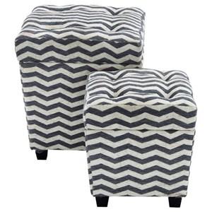 UMA Enterprises, Inc. Accent Furniture Fabric Ottomans, Set of 2