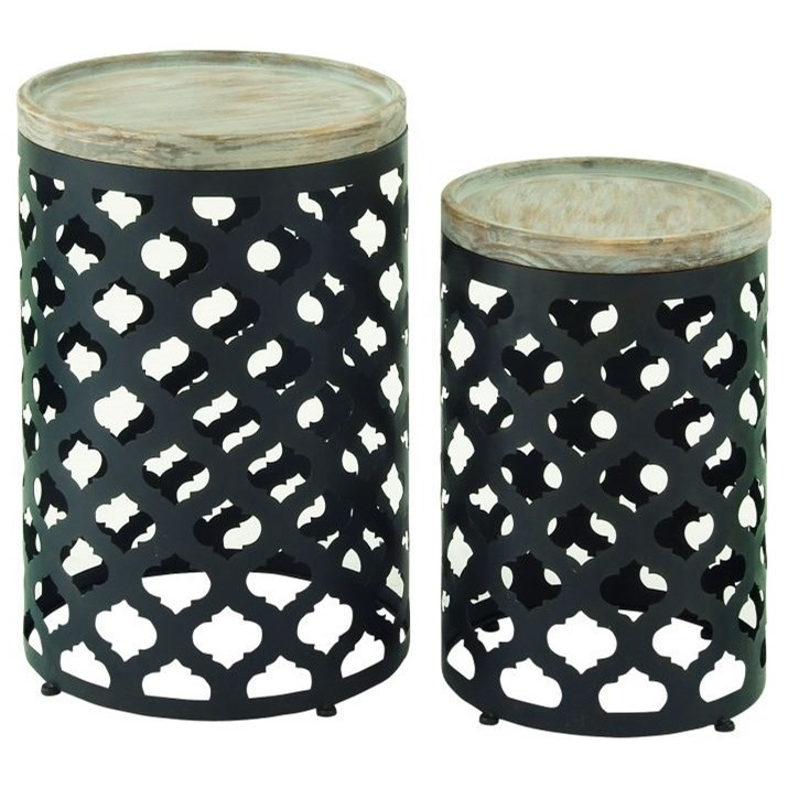 Metal/Wood Accent Table, Set of 2