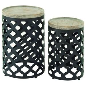 UMA Enterprises, Inc. Accent Furniture Metal/Wood Accent Table, Set of 2