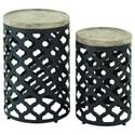 UMA Enterprises, Inc. Accent Furniture Metal/Wood Accent Table, Set of 2 - Item Number: 58542