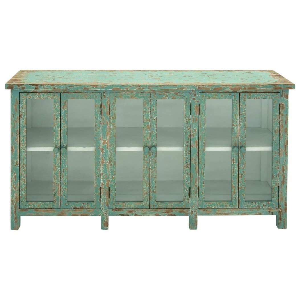Wood/Glass Console Cabinet