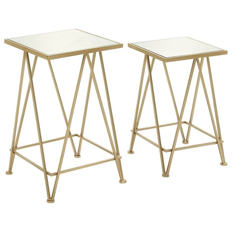 Accent Furniture Metal/Mirror Accent Table, Set of 2 by UMA Enterprises, Inc. at Wilcox Furniture