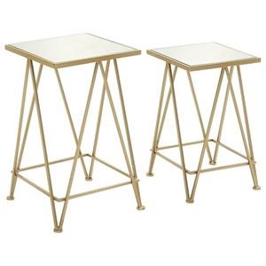 UMA Enterprises, Inc. Accent Furniture Metal/Mirror Accent Table, Set of 2