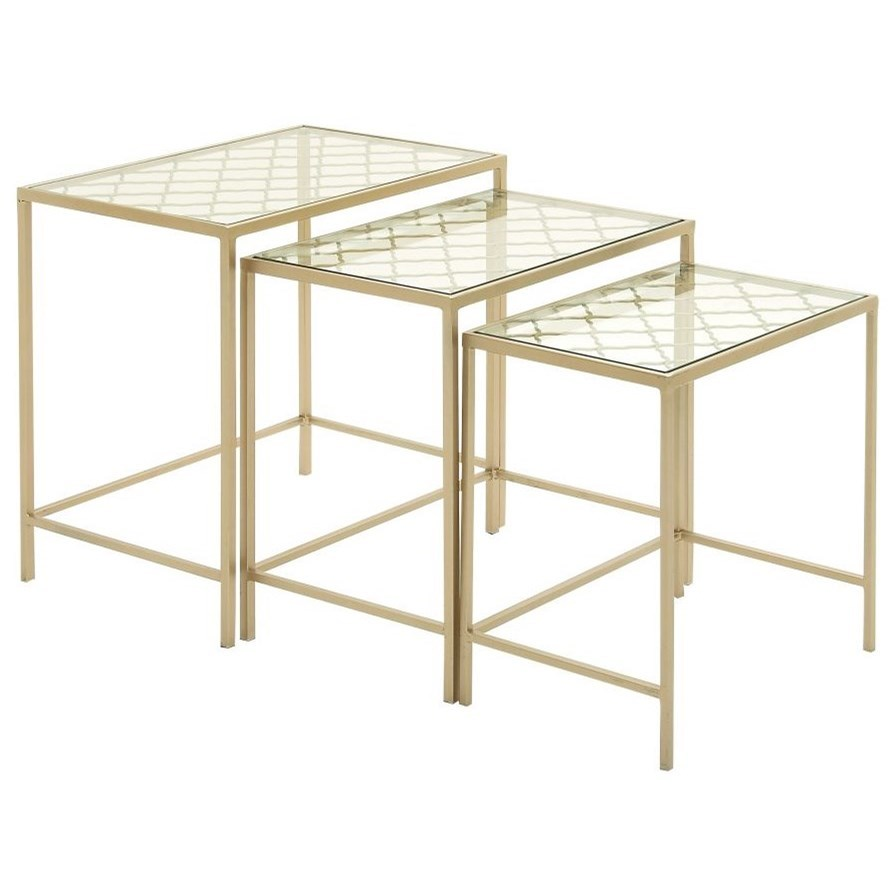 Metal/Glass Nesting Tables, Set of 3