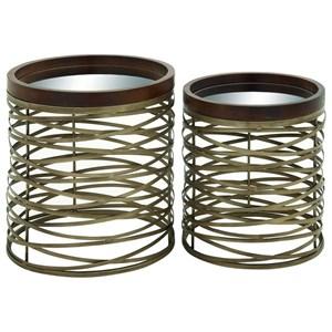 UMA Enterprises, Inc. Accent Furniture Metal/Mirror Tray Tables, Set of 2