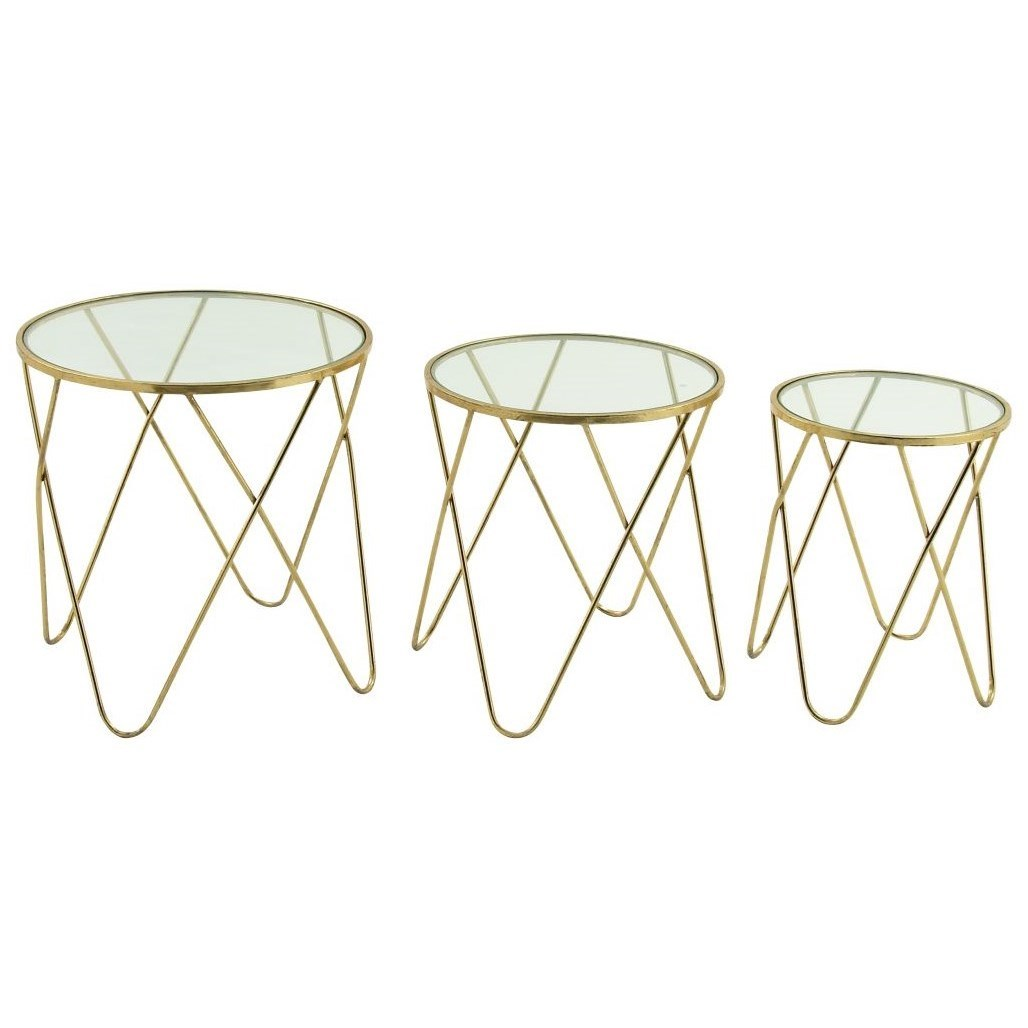 Metal/Glass Accent Tables, Set of 3