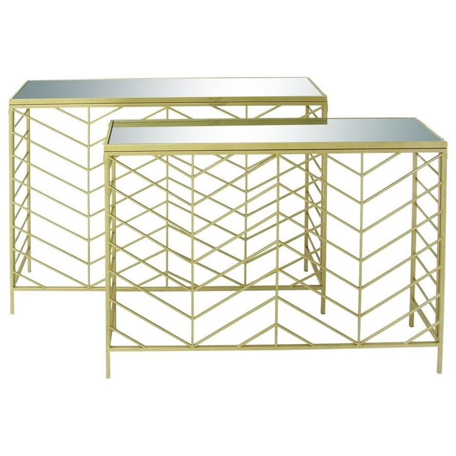 Metal/Glass Console Tables, Set of 2