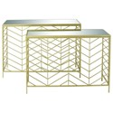 UMA Enterprises, Inc. Accent Furniture Metal/Glass Console Tables, Set of 2 - Item Number: 65498