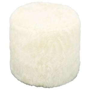 UMA Enterprises, Inc. Accent Furniture Faux Fur Round Ottoman