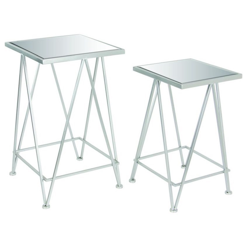 Accent Furniture Metal Mirror Side Tables, Set of 2 by UMA Enterprises, Inc. at Wilcox Furniture
