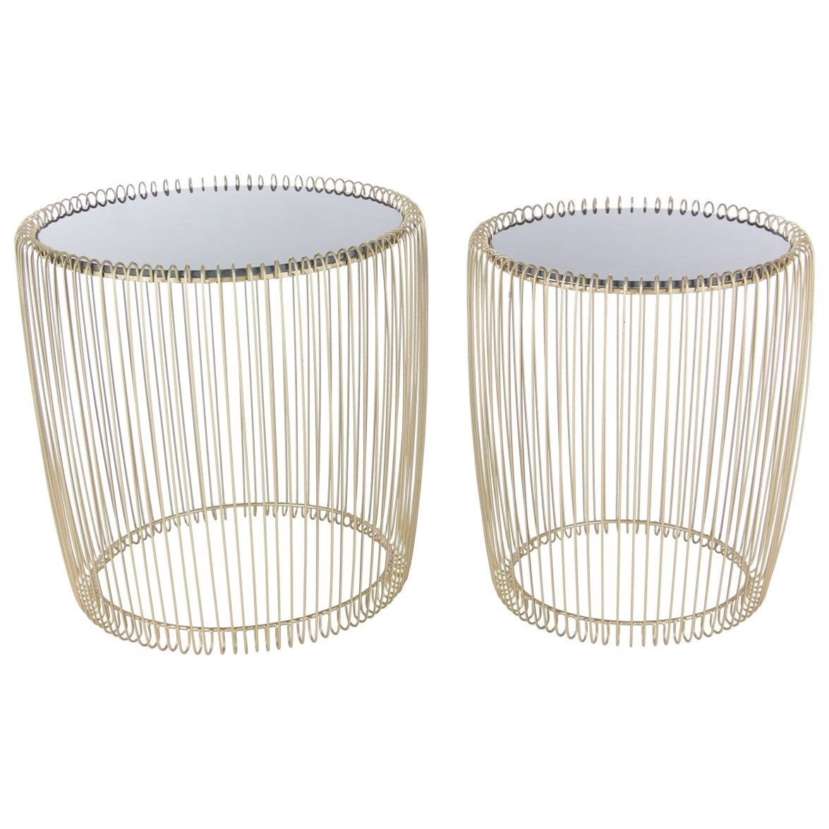 Metal/Glass Accent Tables, Set of 2