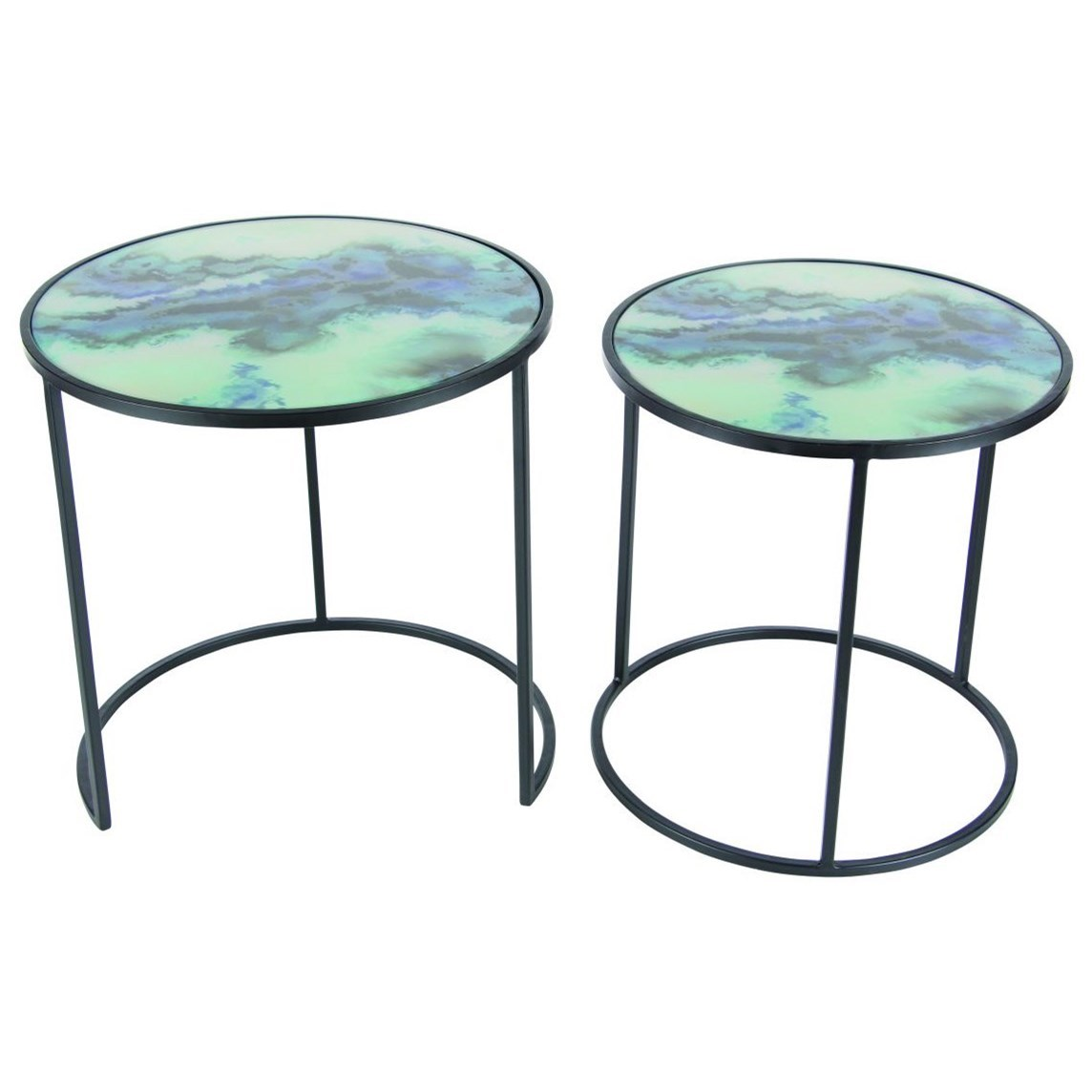 Accent Furniture Metal/Glass Accent Tables, Set of 2 by UMA Enterprises, Inc. at Wilcox Furniture