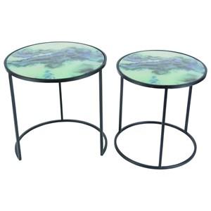 UMA Enterprises, Inc. Accent Furniture Metal/Glass Accent Tables, Set of 2