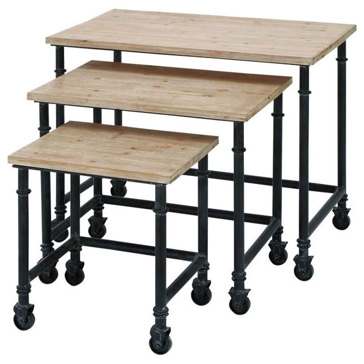 Metal/Wood Nesting Tables, Set of 3