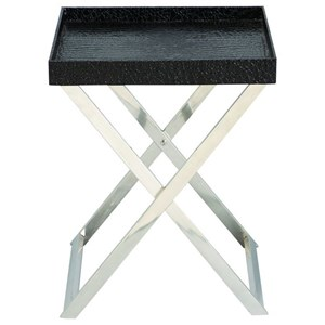 UMA Enterprises, Inc. Accent Furniture Stainless Steel/Faux Leather Tray Table