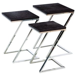 UMA Enterprises, Inc. Accent Furniture Stainless Steel/Faux Leather Nesting Tables