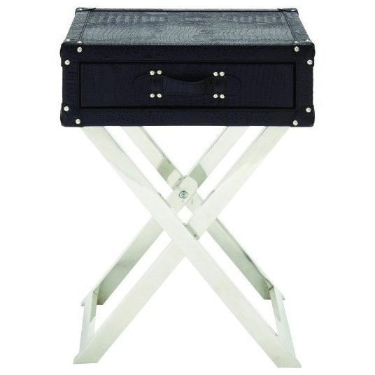 Stainless Steel Faux Leather Table