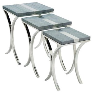 UMA Enterprises, Inc. Accent Furniture Stainless Steel Nesting Tables, Set of 3