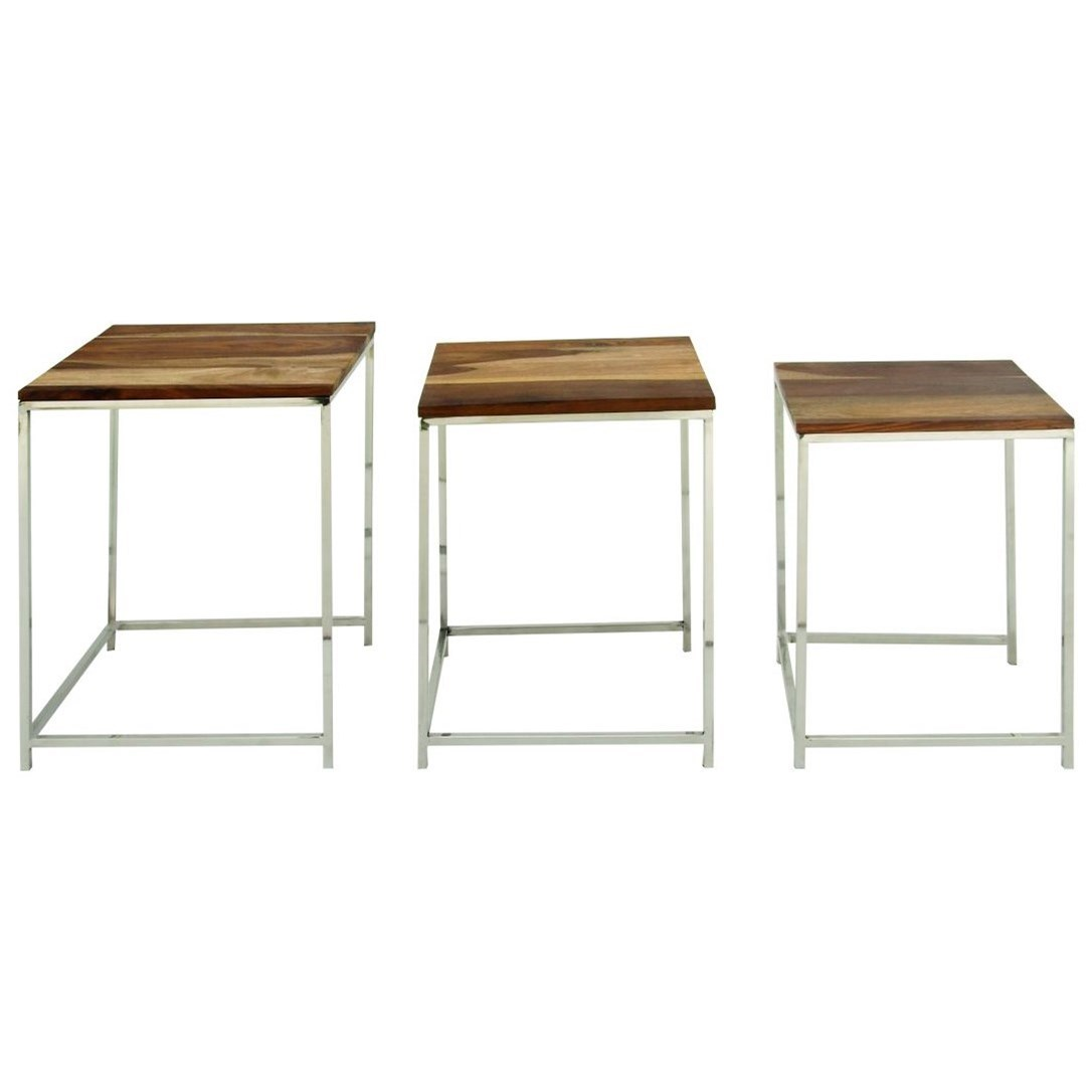 Wood/Stainless Steel Nesting Tables, S/3