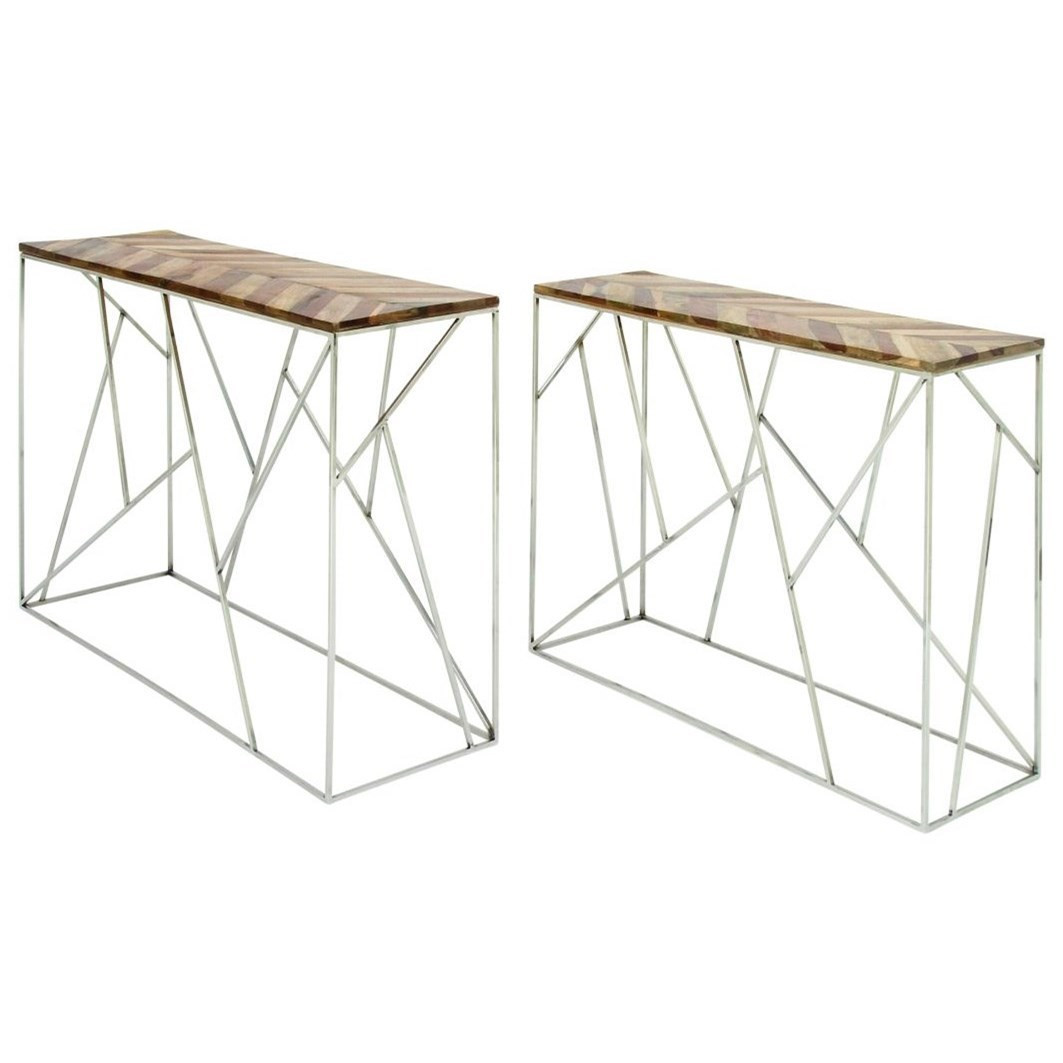 Accent Furniture Stainless Steel/Wood Consoles, Set of 2 by UMA Enterprises, Inc. at Wilcox Furniture