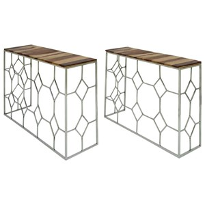 UMA Enterprises, Inc. Accent Furniture Stainless Steel/Wood Consoles, Set of 2