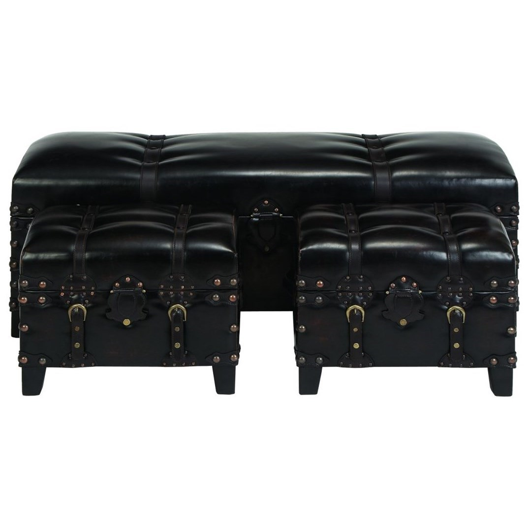 Faux Leather Benches, Set of 3
