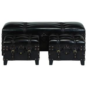 UMA Enterprises, Inc. Accent Furniture Faux Leather Benches, Set of 3