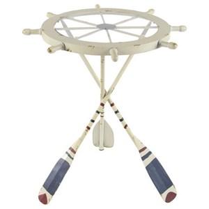 UMA Enterprises, Inc. Accent Furniture Metal/Glass Shipwheel Table