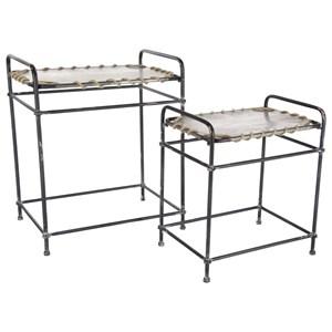 UMA Enterprises, Inc. Accent Furniture Metal/Rope Accent Tables, Set of 2