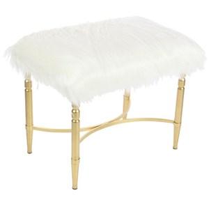 UMA Enterprises, Inc. Accent Furniture Metal Faux Fur Stool