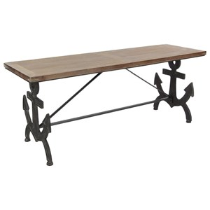 Uma Enterprises Inc Accent Furniture Metal Wood Anchor Bench