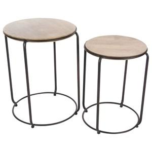 UMA Enterprises, Inc. Accent Furniture Metal/Wood Nest Tables, Set of 2