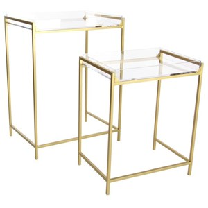 UMA Enterprises, Inc. Accent Furniture Metal/Acrylic Tray Tables, Set of 2