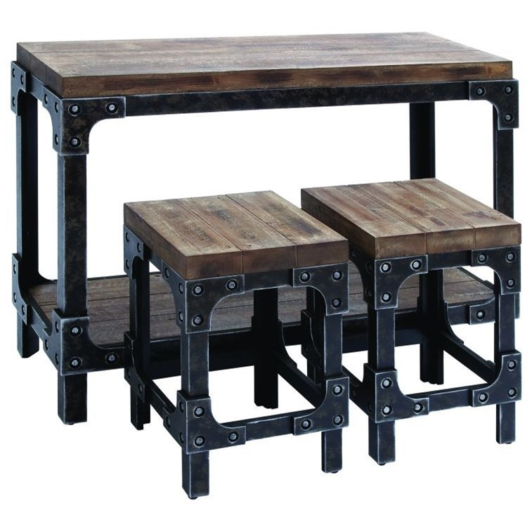 Wood Table & Stool Set