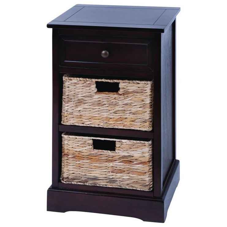 Accent Furniture Wood Wicker Basket Side Table by UMA Enterprises, Inc. at Wilcox Furniture