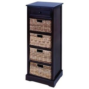 UMA Enterprises, Inc. Accent Furniture Wood Wicker Basket Chest