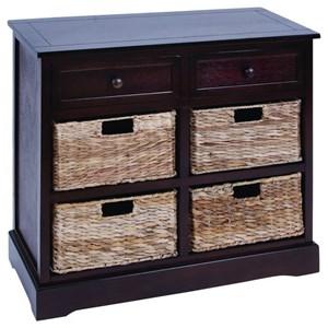 UMA Enterprises, Inc. Accent Furniture Wood/Wicker Basket Cabinet