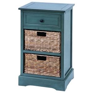 UMA Enterprises, Inc. Accent Furniture Wood Wicker Basket Side Table