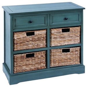 UMA Enterprises, Inc. Accent Furniture Wood Wicker Basket Cabinet