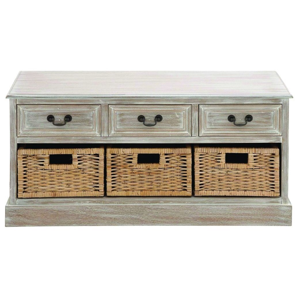 Wood 3 Basket Low Chest