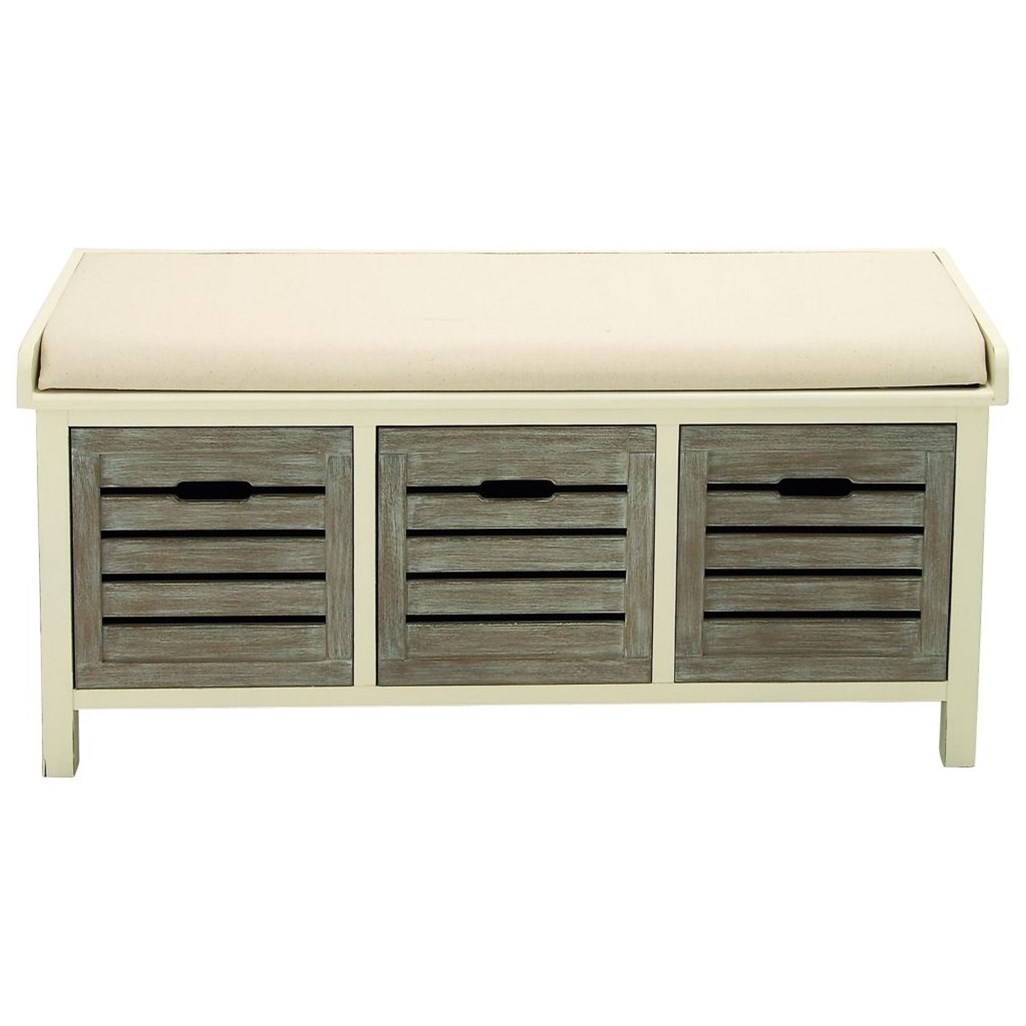 Accent Furniture Wood 3 Drawer Fabric Bench by UMA Enterprises, Inc. at Wilcox Furniture