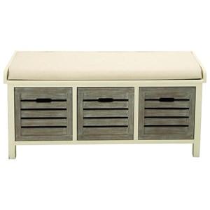 UMA Enterprises, Inc. Accent Furniture Wood 3 Drawer Fabric Bench