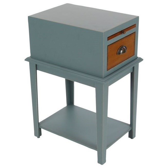 """Wd Grey Side Table 13""""W, 26""""H"""