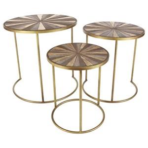 UMA Enterprises, Inc. Accent Furniture Metal/Wood Accent Tables, Set of 3